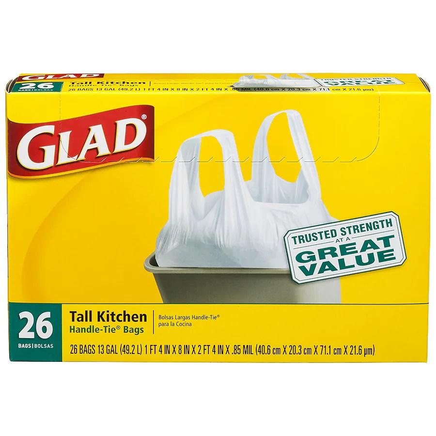 kitchen garbage bags granite composite sinks glad tall handle tie trash 13 gallon white walgreens white26ea