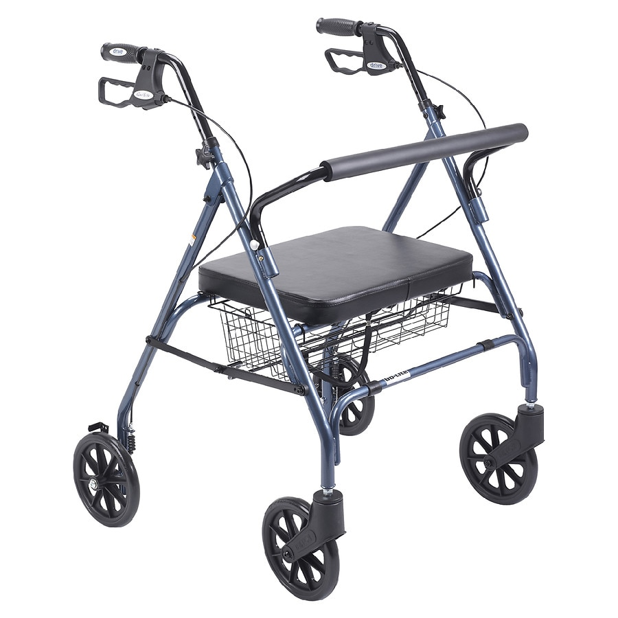 walker roller chair mid century modern slipper rollator with seat walgreens drive medical heavy duty bariatric large padded blue