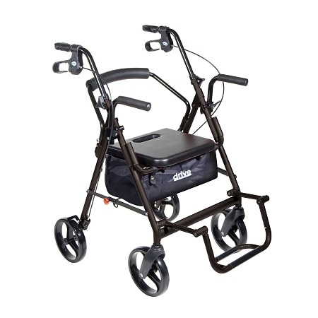 transport chair walgreens resin wicker chairs canada drive medical duet wheelchair rollator walker black |