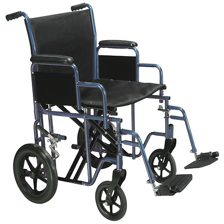 walgreens transport chair small bedroom occasional drive medical bariatric heavy duty wheelchair with swing away footrest 22 inch blue ...