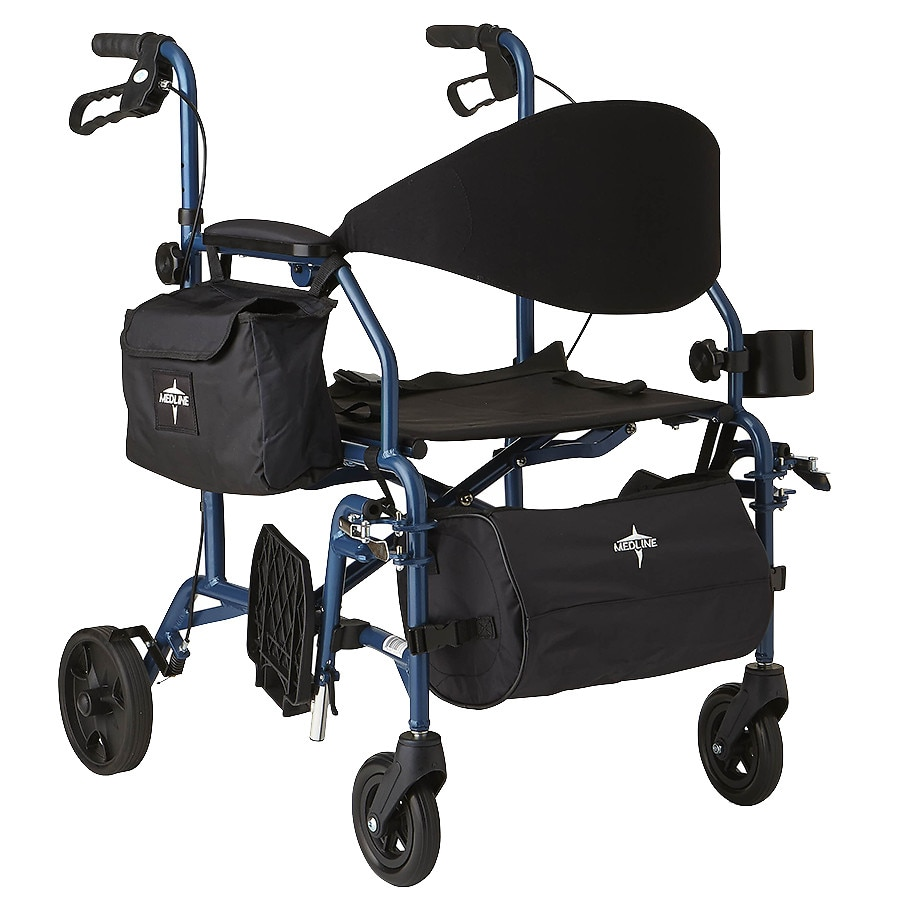 walgreens transport chair stacking garden covers medline deluxe combination and rollator rollator1 0 ea