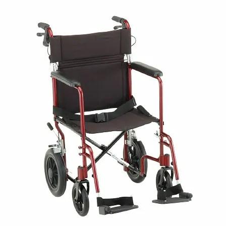 Nova Transport Chair Lightweight with Hand Brakes Swing