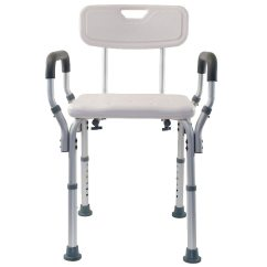 Shower Chair With Wheels And Removable Arms Ergonomic Kneeling Nz Essential Medical Adjustable Arm Bench Back Back1 0 Ea