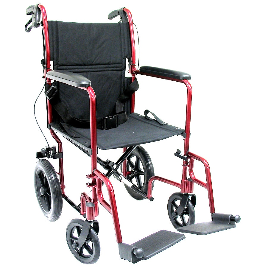 transport chair walgreens death by electric video karman 19 inch aluminum lightweight with hand brakes 23 lbs burgundy1 0 ea