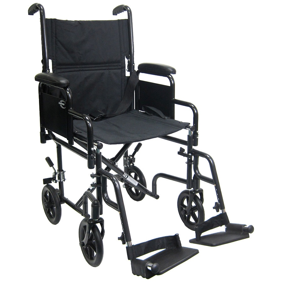 transport chair walgreens cover rental michigan karman 19 inch steel with removable armrests 29lbs black1 0 ea