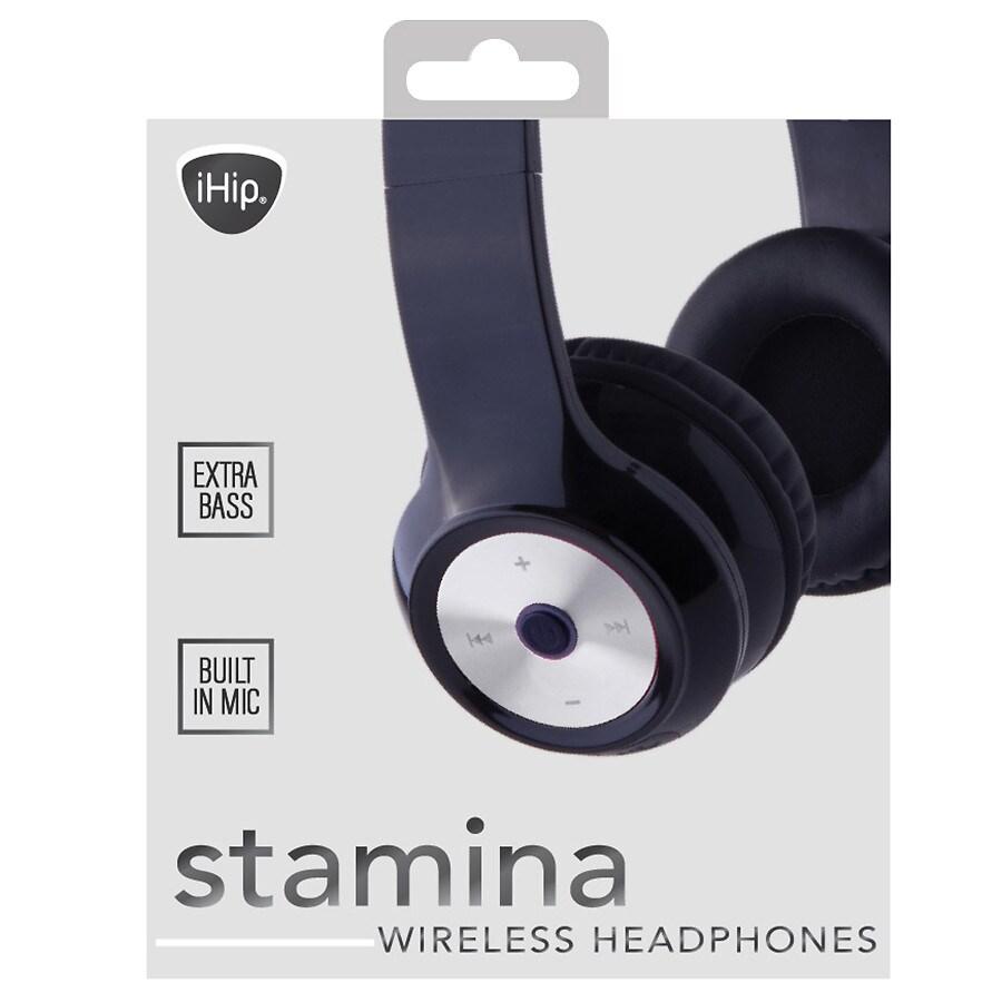 hight resolution of ihip bluetooth stamina headphones black silver