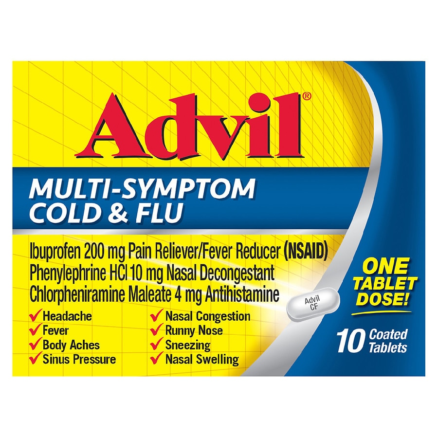 Advil Multi-Symptom Cold & Flu Coated Tablets, 200 mg Ibuprofen ...