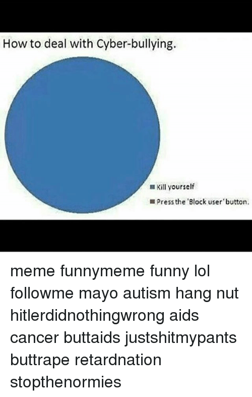 Blocked Meme Button : blocked, button, Cyber-Bullying, Yourself, Press, 'Block, Button, Funnymeme, Funny, Followme, Autism, Hitlerdidnothingwrong, Cancer, Buttaids, Justshitmypants, Buttrape, Retardnation, Stopthenormies