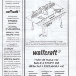 Owner's Manual 6146 (Router Table 490) by Wolfcraft