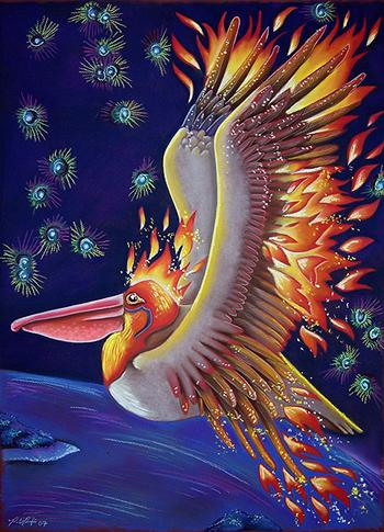 Pelican as Firebird, by Ravenari / Pia Van Ravestein