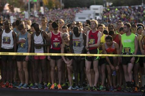Runners wait for the race to begin during the 32nd annual California International Marathon on Sunday, Dec. 7, 2014. Organizers of sports events in California's capital are concerned that the nation's largest railroad may not allow participants to cross tracks, forcing them to reroute or cancel more races.