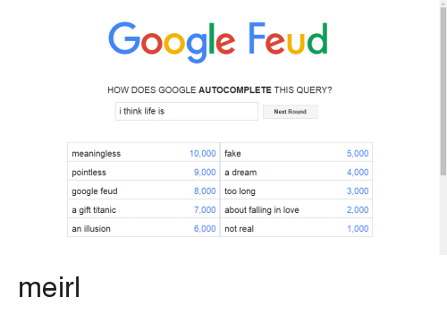 Google Feud HOW DOES GOOGLE AUTOCOMPLETE THIS QUERY? I