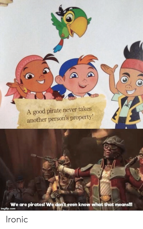 A Good Pirate Never Takes Another Person's Property! We Are Pirates! We Don't Even Know What That Means!!! Imgflipcom Ironic | Ironic Meme on ME.ME