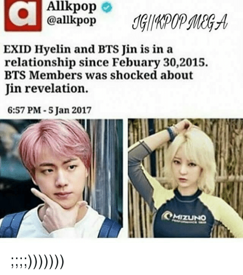 Allkpop E EXID Hyelin and BTS Jin Is in a Relationship