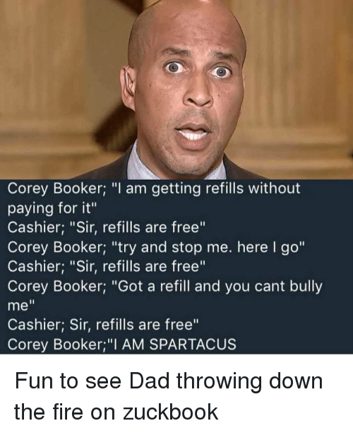 Cory Booker Spartacus Meme : booker, spartacus, Corey, Booker, Getting, Refills, Without, Paying, Cashier