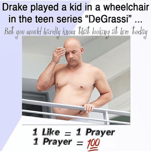 wheelchair drake chair mic stand played a kid in the teen series degrassi but and kids