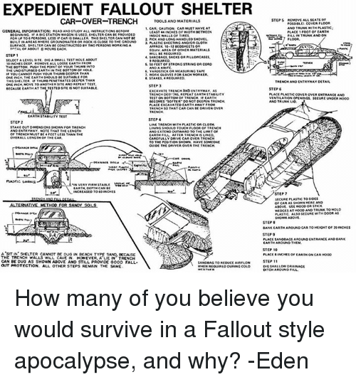 EXPEDIENT FALLOUT SHELTER CAR-OVER-TRENCH TOOLSANO