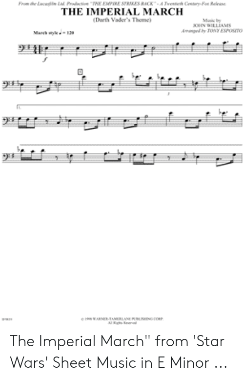 Imperial March Trombone Sheet Music : imperial, march, trombone, sheet, music, Darth, Vader, Sheet, Music