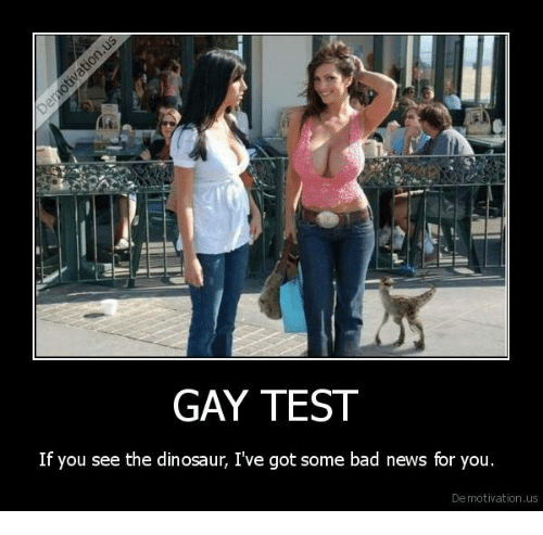 GAY TEST if You See the Dinosaur Ive Got Some Bad News for You De Motivation Us  Bad Meme on MEME