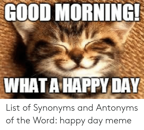 GOOD MORNING! WHAT a HAPPY DAY List of Synonyms and Antonyms of ...