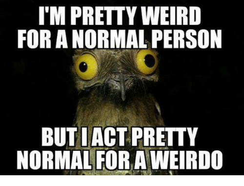 IM PRETTY WEIRD FOR a NORMAL PERSON BUT LACT PRETTY NORMAL FOR a WEIRDO  Meme on MEME