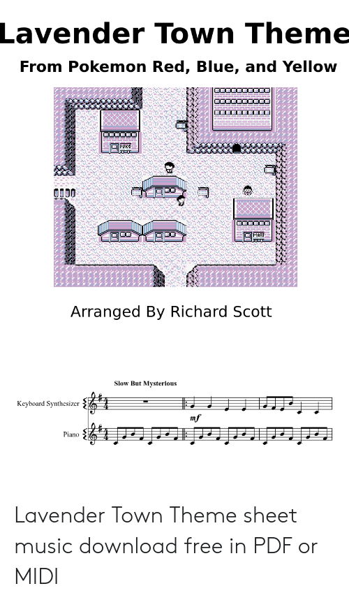Lavender Town Sheet Music : lavender, sheet, music, Lavender, Theme, Pokemon, Yellow, 보보보보, Arranged, Richard, Scott, Mysterious, Keyboard, Synthesizer, Piano, Sheet, Music, Download