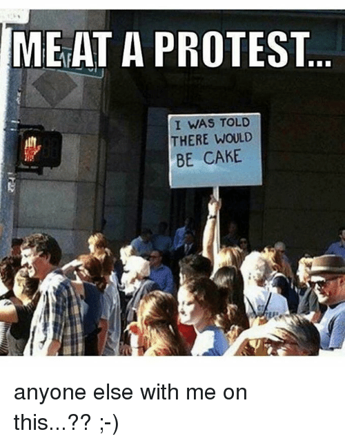 I Was Told There Would Be Cake Meme : there, would, PROTEST, THERE, WOULD, Anyone, This??, There, Would, ME.ME