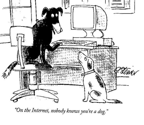 """dessin de prese peter steiner new yorker """"on the internet nobody knows you're a dog"""""""
