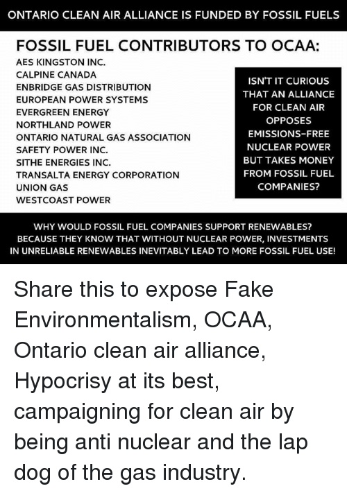 ONTARIO CLEAN AIR ALLIANCE IS FUNDED BY FOSSIL FUELS