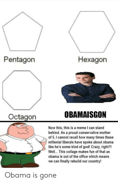 Obama Is Gone Meme : obama, Pentagon, Hexagon, OBAMAISGON, Octagon, Stand, Behind, Proud, Conservative, Mother, Cannot, Recall, Times, These, Millenial, Liberals, Spoke