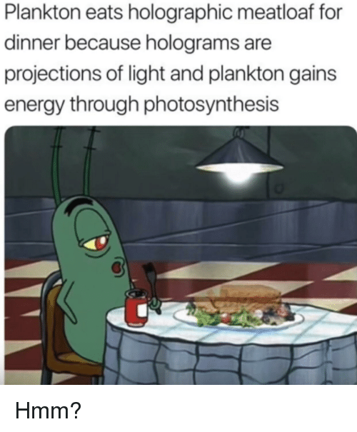 Spongebob Holographic Meatloaf : spongebob, holographic, meatloaf, Plankton, Holographic, Meatloaf, Dinner, Because, Holograms, Projections, Light, Gains, Energy, Through, Photosynthesis, ME.ME