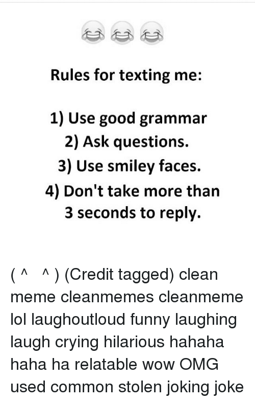 rules for texting me