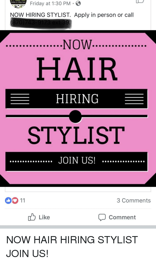 Salons Hiring Near Me : salons, hiring, Salon, Riday, HIRING, STYLIST, Apply, Person, Comments, Comment, ME.ME