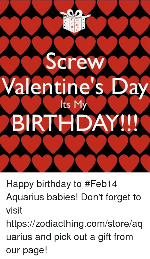 Happy Birthday On Valentine's Day Meme : happy, birthday, valentine's, Screw, Valentine's, BIRTHDAY, Happy, Birthday, #Feb14, Aquarius, Babies!, Don't, Forget, Visit, Httpszodiacthingcomstoreaquarius, Page!, ME.ME