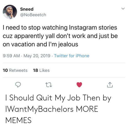 Sneed L Need To Stop Watching Instagram Stories Cuz Apparently Yall Don T Work And Just Be On Vacation And L M Jealous 959 Am May 20 2019 Twitter For Iphone 10 Retweets 18