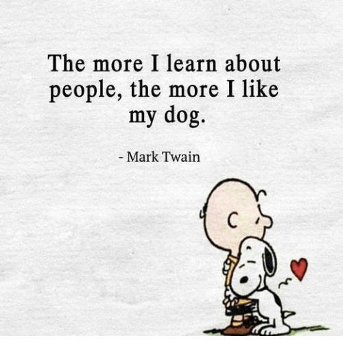 The More I Learn About People the More I Like My Dog Mark Twain   Meme on ME.ME