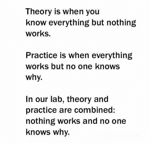 Theory Is When You Know Everything but Nothing Works
