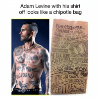 Adam Levine Tattoos Chipotle Bag