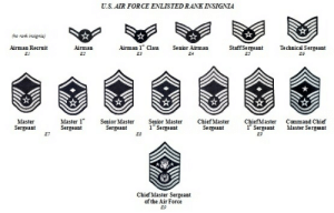 US ATR FORCE ENLISTED RANK INSIGNIA Airman Recruit EL