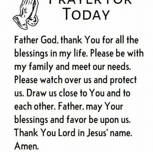 TODAY Father God Thank You for All the Blessings in My