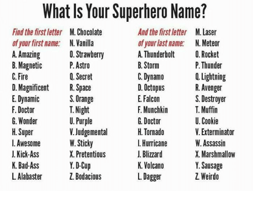 What Is Your Superhero Name? And the First Letter M Laser