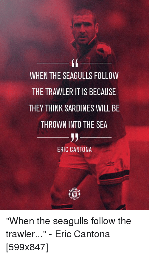 When the seagulls follow the trawler, it is because they think sardines will be thrown into the sea. When The Seagulls Follow The Trawler It Is Because They Think Sardines Will Be Thrown Into The Sea Eric Cantona When The Seagulls Follow The Trawler Eric Cantona 599x847 Eric