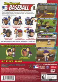 Backyard Baseball PlayStation 2 Back Cover