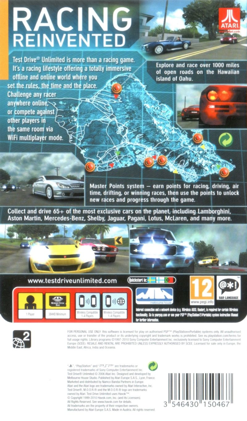Test Drive Unlimited 2007 PSP box cover art  MobyGames