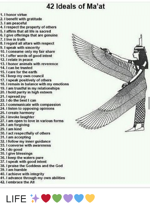 42 Ideals of Ma'at 11 Honor Virtue 2 Benefit With