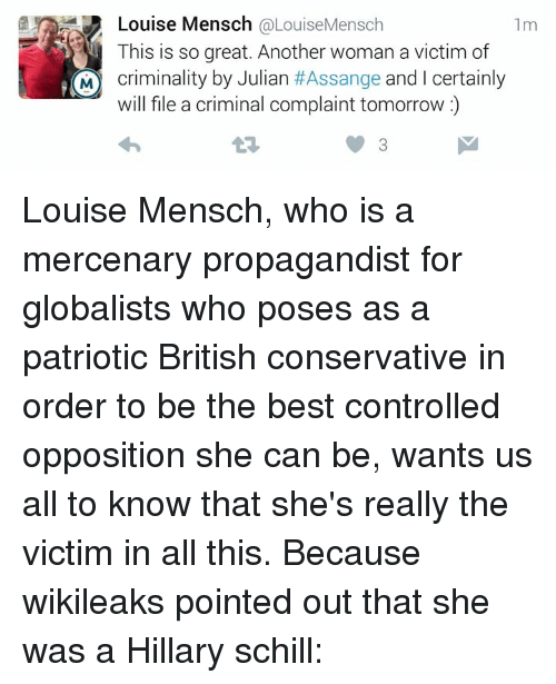 Louise Mensch Hillary Shill - Image Copyright OnSizzle.Com