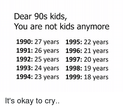 Dear 90s Kids You Are Not Kids Anymore 1990 27 Years 1995