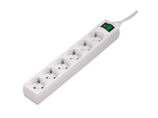 HAMA 6-Way Power Strip with switch, 1.4 m, White