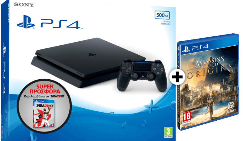 SONY PlayStation 4 500GB E Chassis Black + NBA 2K18 + Assassin's Creed Origins