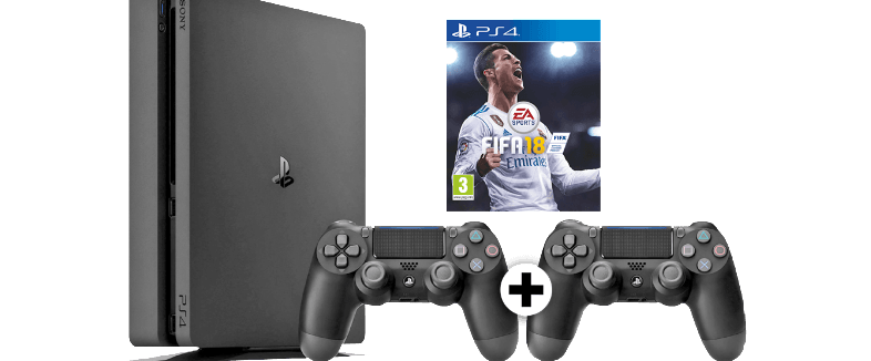 SONY PS4 500GB E Chassis Black/CEN and FIFA 18 and DS4